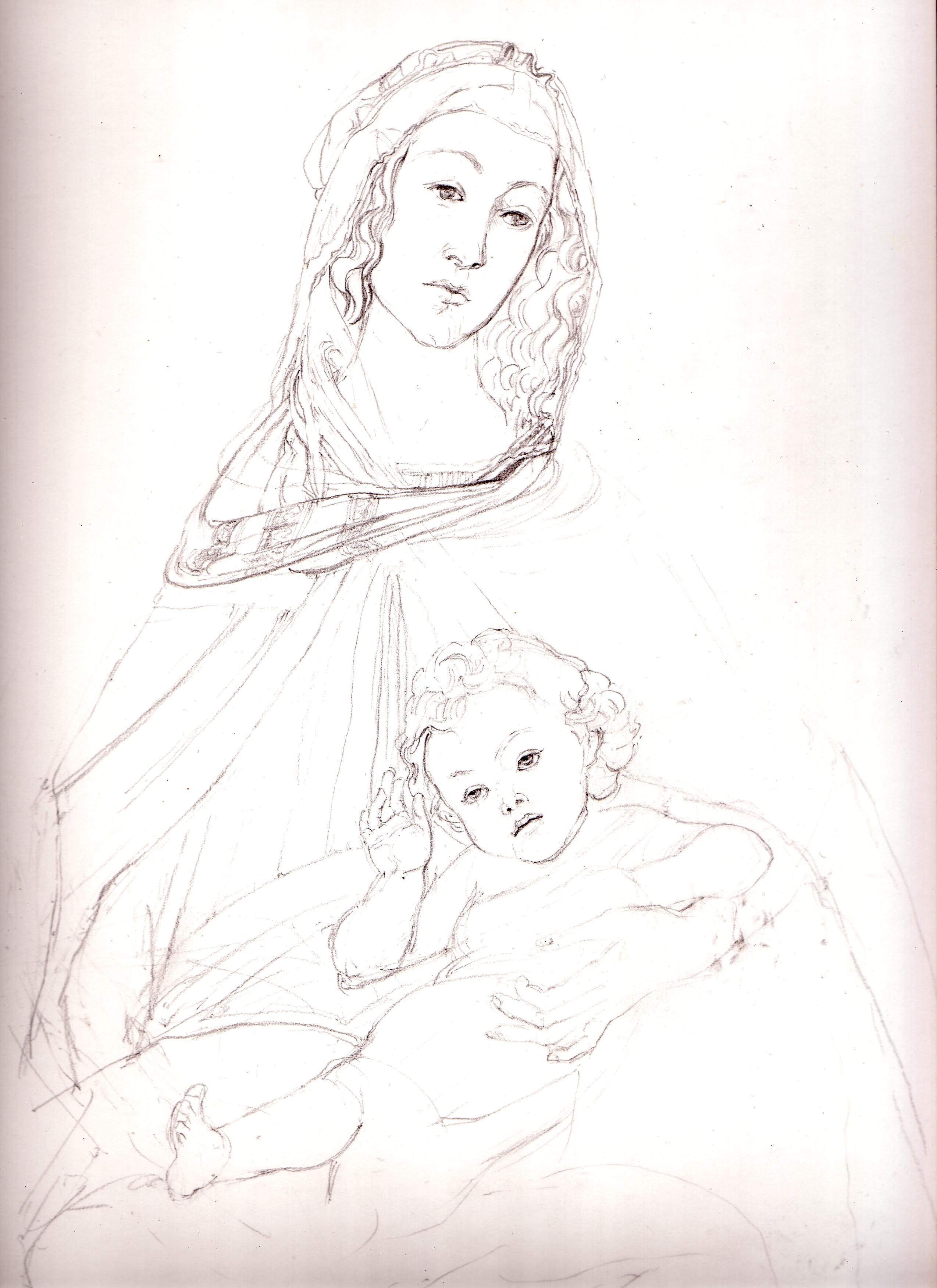 Emilio Morini Archivio Opere Disegni 2009 Madonna Con Bambino